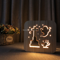 Wooden night light cross ghost Hollow design lamp USB power LED lamp children's bedroom bedside lamp club home decoration