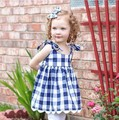 New summer kids girl's sleeves+pants set children's clothing blue and red plaid cotton bow set