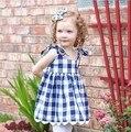 Verão novo mangas + calças definir a roupa das crianças dos miúdos da menina azul e vermelho da manta de algodão arco conjunto