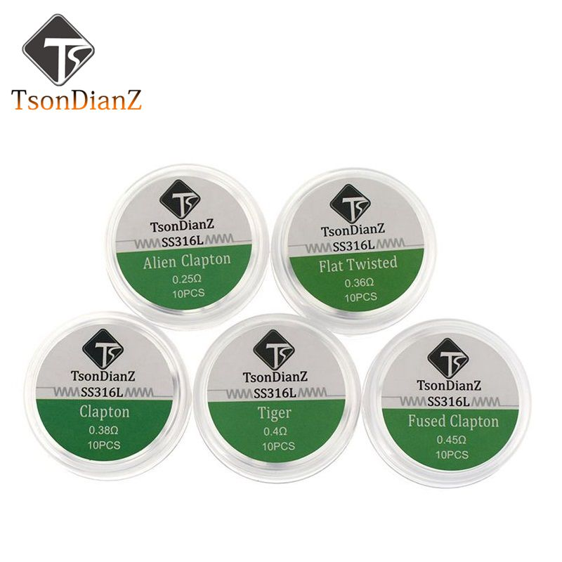 TsonDianZ 10pcs SS316L DIY Prebuilt Coil E-Cigarette Heating Wire Alien Tiger Fused Clapton Flat Twisted Coil For RDA Atomizer