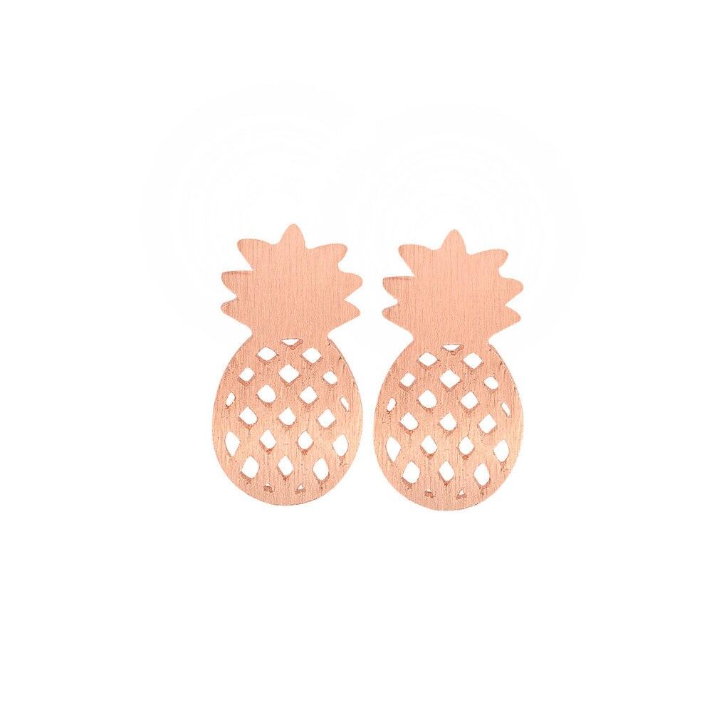 New Minimalist Women Decoration Pusety Cute Pineapple Stud Earrings Rose  Gold Earrings Best Friend Fruit Jewelry