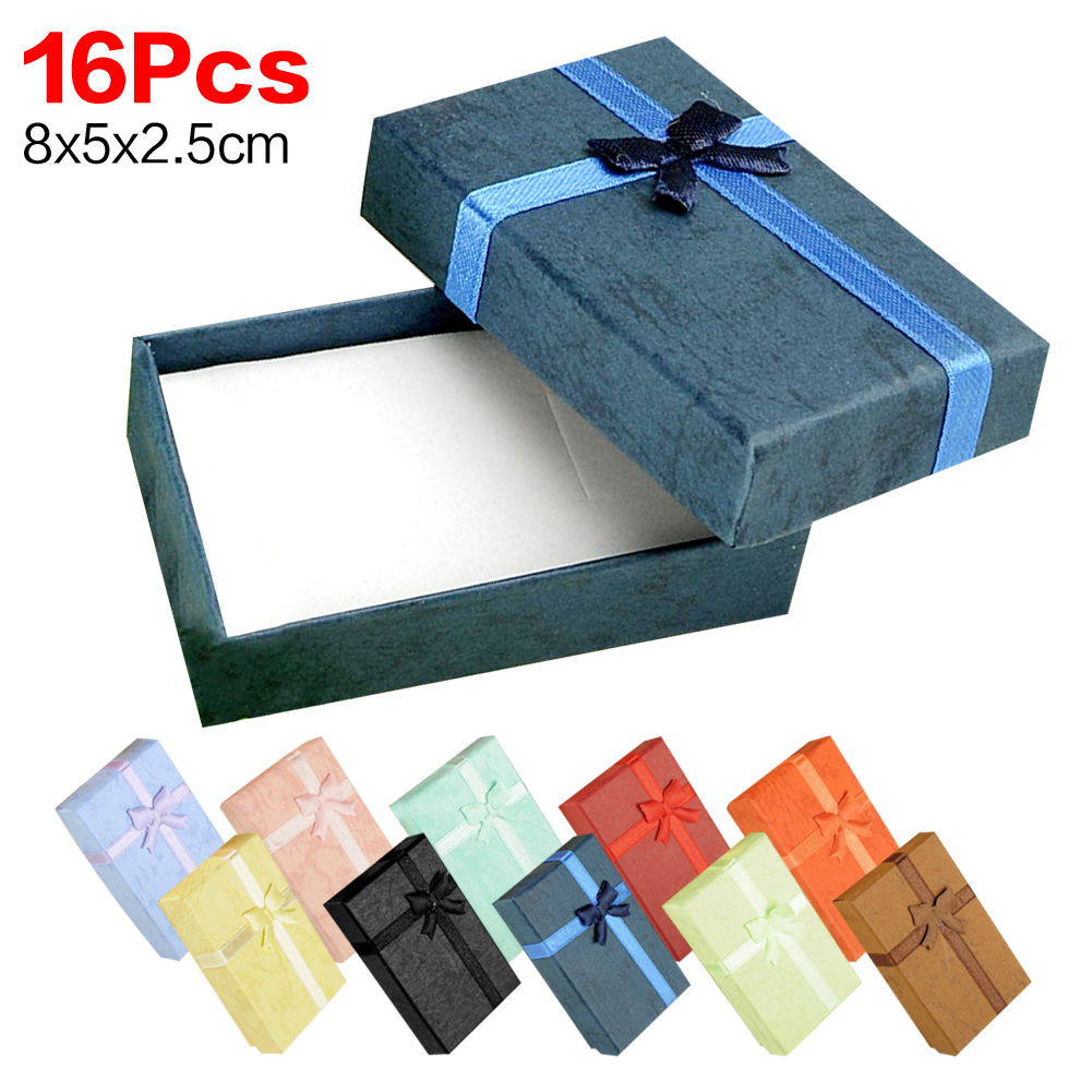 Cheap 16pcs/lot purple gift box 8*5*2.5cm jewelry earring bracelet ring square carton bow case black red pink girl package