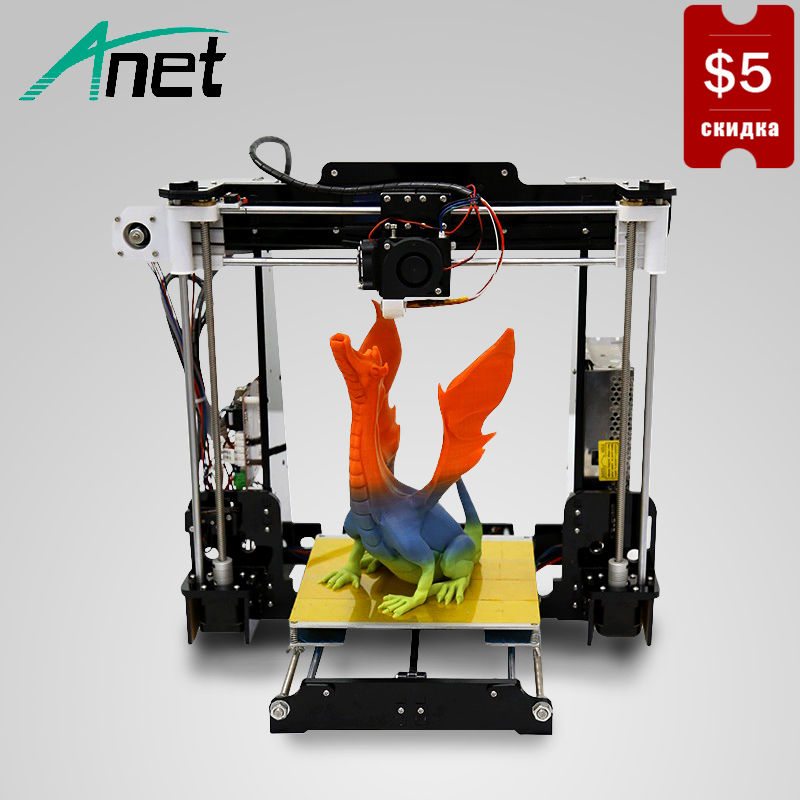 купить Anet A8 3D Printer Prusa i3 High Precision Printer DIY Kit Easy Assemble Hot Bed LCD Screen SD Card Plastic Kit Send From Moscow недорого