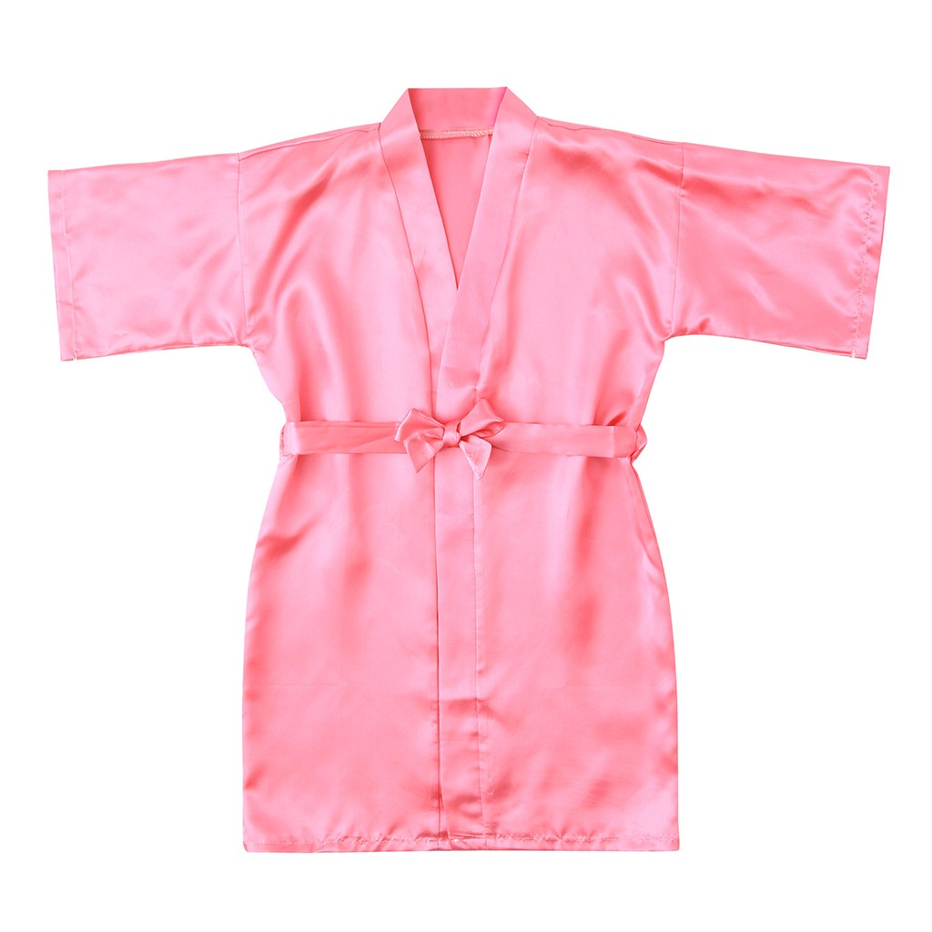 Bathrobe Kimono Satin Toddler Girls Kids Sleepwear Baby Fashion Silk Solid Night-Gown