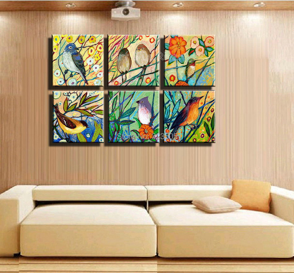 Wall Art Paintings For Living Room Aliexpresscom Buy Hand Painted High Quality Muti Panel Canvas