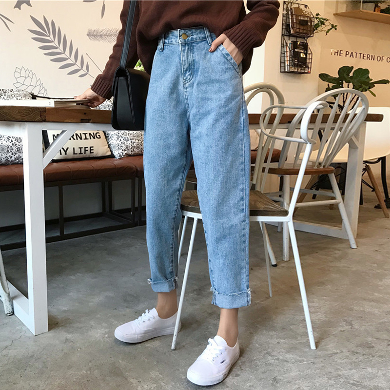 Mihoshop Ulzzang Korean Korea Women Fashion Clothing 2018 Spring High Waist All-match Straight Loose Harajuku Student   Jeans