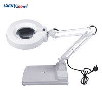 10X Desktop Adjustable Magnifying Glass LED Illuminated Lamp Jewelry Magnifier Loupe Foldable Plug in Repair Dentist Beauty Lupa