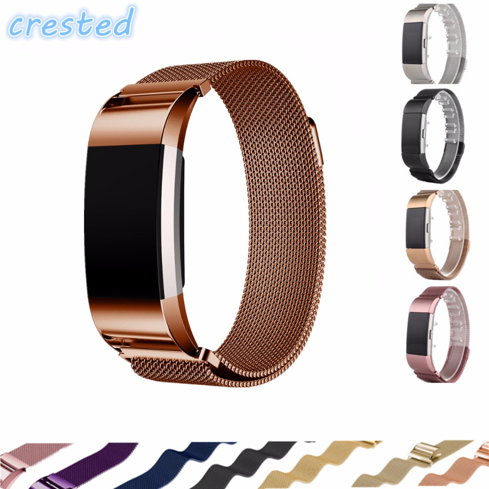 CRESTED Luxury Magnetic Milanese Loop Wrist strap  for Fitbit Charge 2 Link Bracelet Stainless Steel Band Adjustable Closure stainless steel watch band for fitbit charge 2 wrist strap band bracelet link watchband smart wristband accessory for charge2