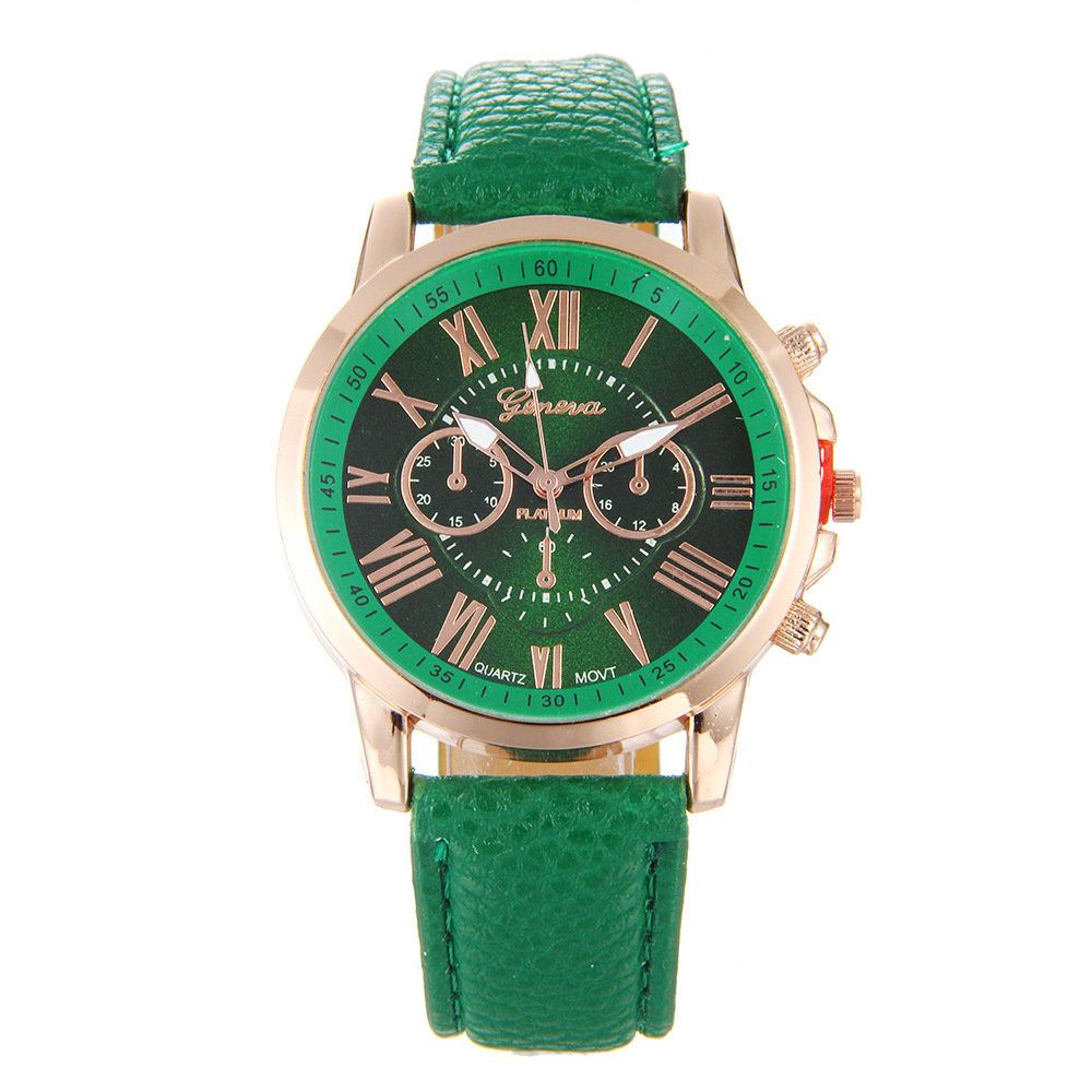 2018 New Classic Dark Green Watch Geneva Roman Numerals Faux Leather Analog Quartz Women Wrist Watches Feminino Dropshipping 38