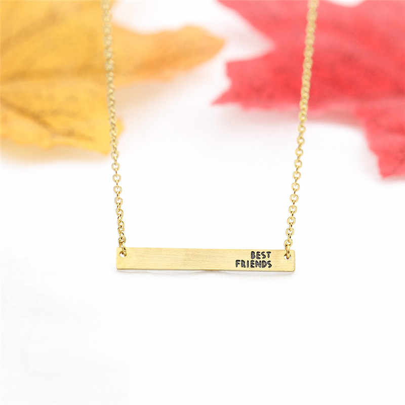 Rose Gold Dainty Bar Necklace For Women Best Friends Jewelry Stainless Steel Chain Sideways Bestie Collares Bridesmaid Gift
