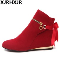 Fashion Cross Straps Ankle Boots Shoes Woman Flat Heel Martin Boots Ladies Sweet Slip On Lacing