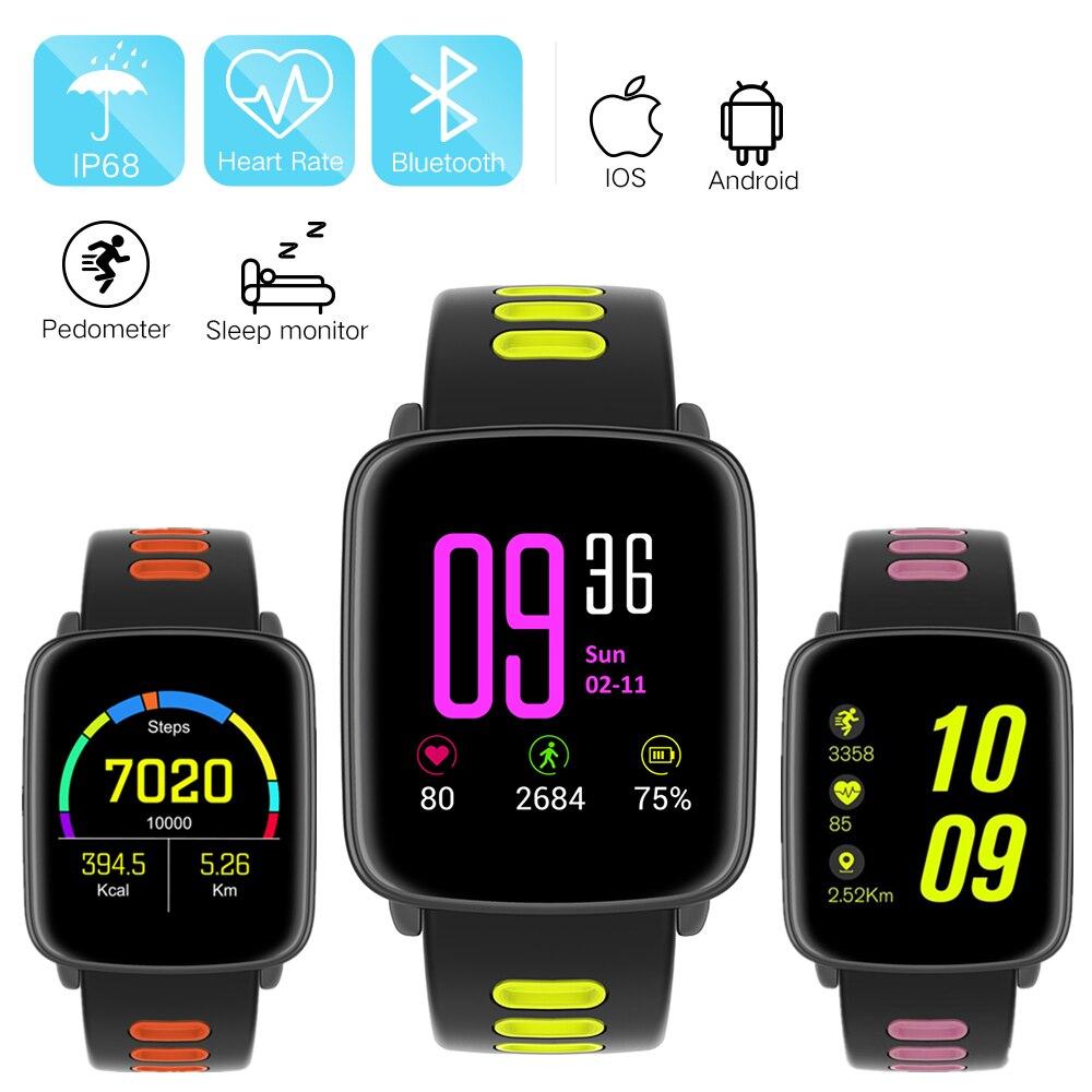 Mindkoo GV68 reloj inteligente IP68 impermeable Bluetooth SmartWatch Monitor de frecuencia cardíaca cámara remota para iPhone teléfono Android pk k88h