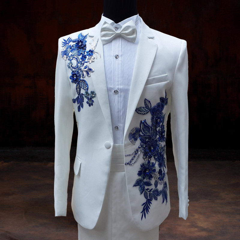 Royal Blue And White Prom Suit - Go Suits