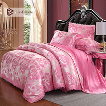 Liv-Esthete European Luxury Pink Satin Jacquard Bedding Set Lace Silky Duvet Cover Flat Sheet Pillowcase Queen King Bed Linen bed sheet альвитек 214 220 cm pink satin