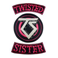 TWISTED SISTER Biker Motorcycle Rider Embroidered Iron On Back of Jacket Iron Patch Clothes Black twill fabric DIY Eco Friendly