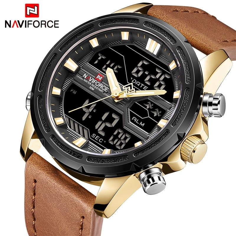 NAVIFORCE Top Luxury Brand Sport Watches Men Leather Digital Quartz Analog Watch Waterproof Military Clock Relogios Masculinos analog watch