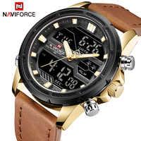 NAVIFORCE Top Luxury Brand Sport Watches Men Leather Digital Quartz Analog Watch Waterproof Military Clock Relogios Masculinos