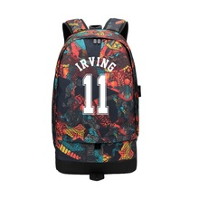 2019 New Fashion Kyrie Irving USB Canvas Bag Men Women Large Capacity Travel Backpack School For Students Casual Rucksack