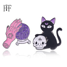 2Pcs/Lot Cat brooch badges Bad witch pin Crystal ball witch hands black cat skull head pins hijab pins For Women Accessories(China)