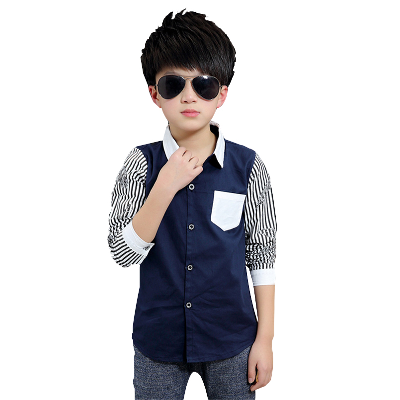 <font><b>Boys</b></font> Blouses Long Sleeve Striped <font><b>Shirts</b></font> For <font><b>Boys</b></font> Children Clothing Cotton School Uniforms Teenage <font><b>Boys</b></font> Tops 5 <font><b>7</b></font> 9 11 13 14 <font><b>Years</b></font> image