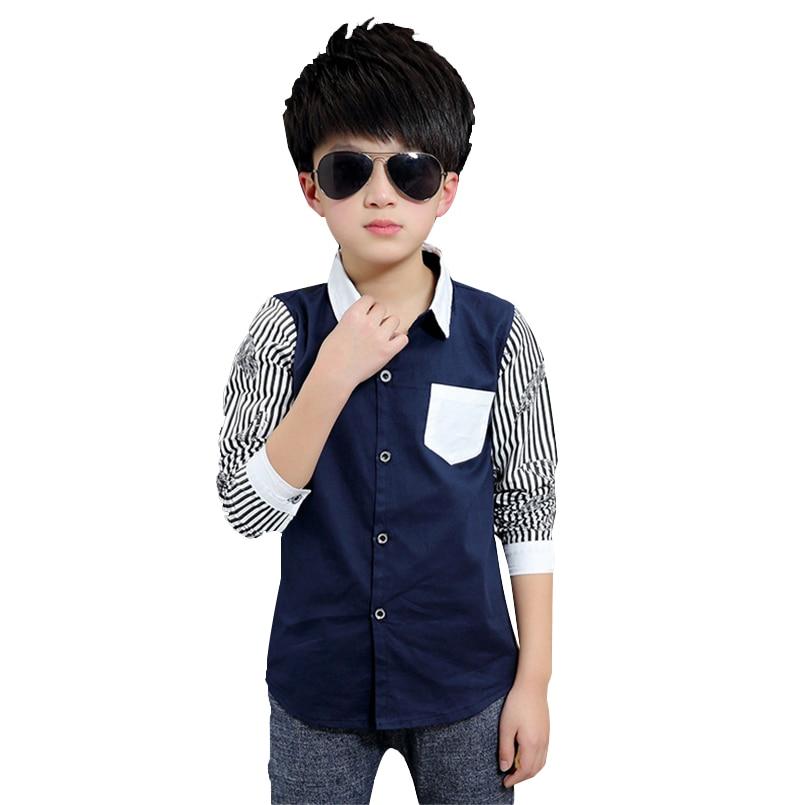 Anak laki-laki Blus Kemeja Bergaris Lengan Panjang Untuk Anak Laki-laki Anak-anak Pakaian Katun Seragam Sekolah Remaja Laki-laki ...