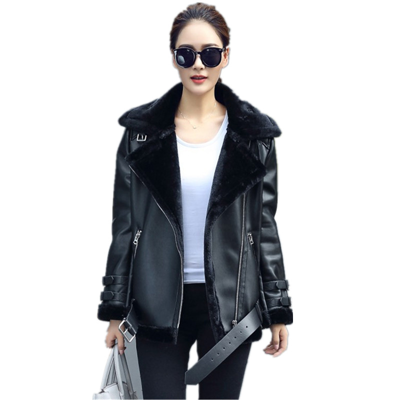 Women Faux Leather Pu Leather Berber Patchwork Short Shearling ...