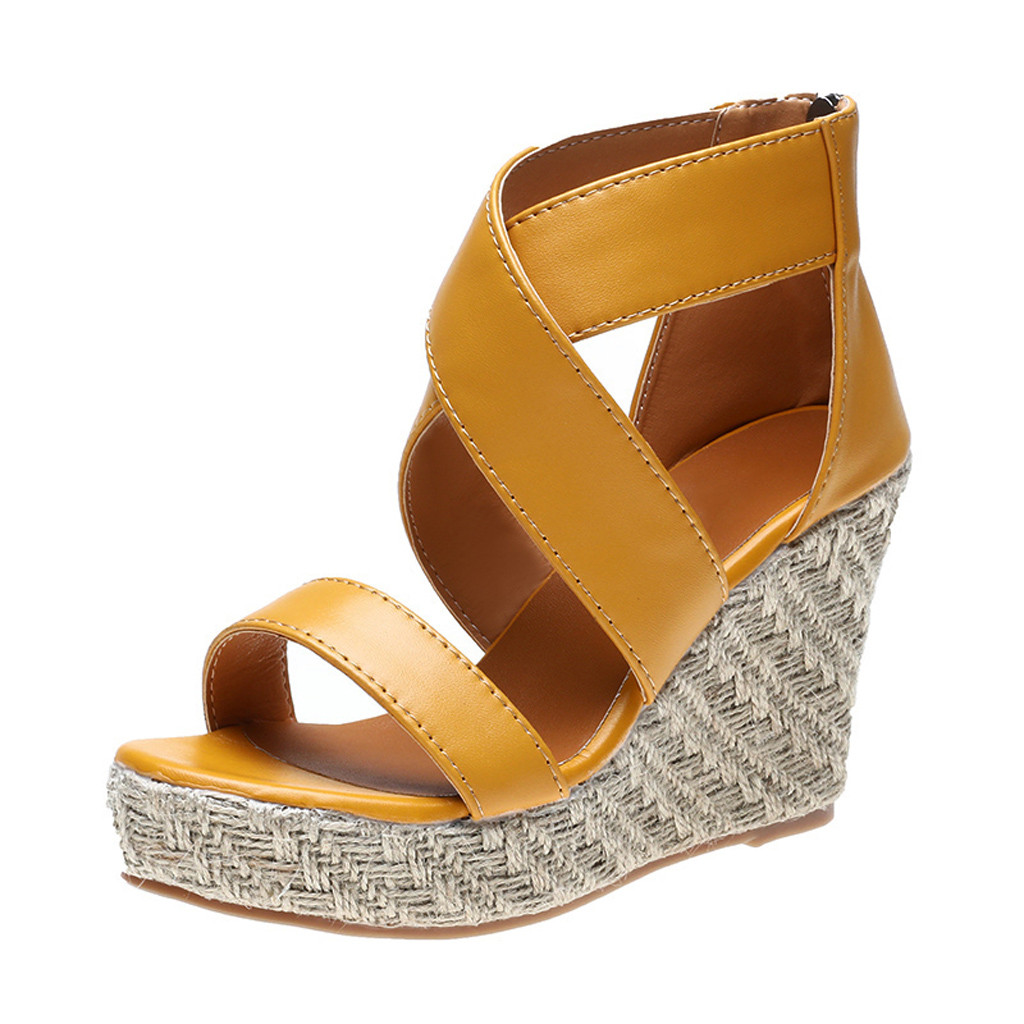 Roman Sandals Wedges Beach-Shoes Open-Toe Womens Sapato Thick Bottom Feminino Alto Lace-Up