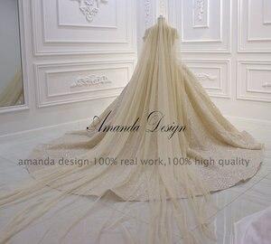 Image 2 - Amanda Design Top Quality Off Shoulder Pleated Champagne Shiny Luxury Wedding Dress