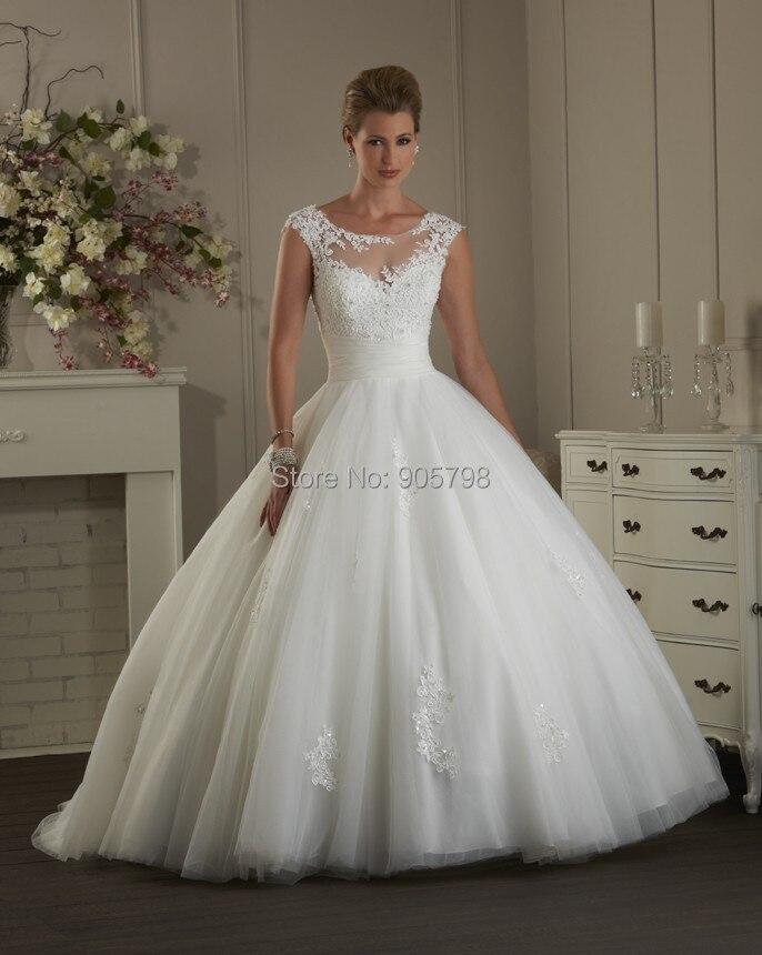 Modern Illusion Bateau Neckline Short Cap Sleeve Ball Gown Lace Wedding Dress Bridal