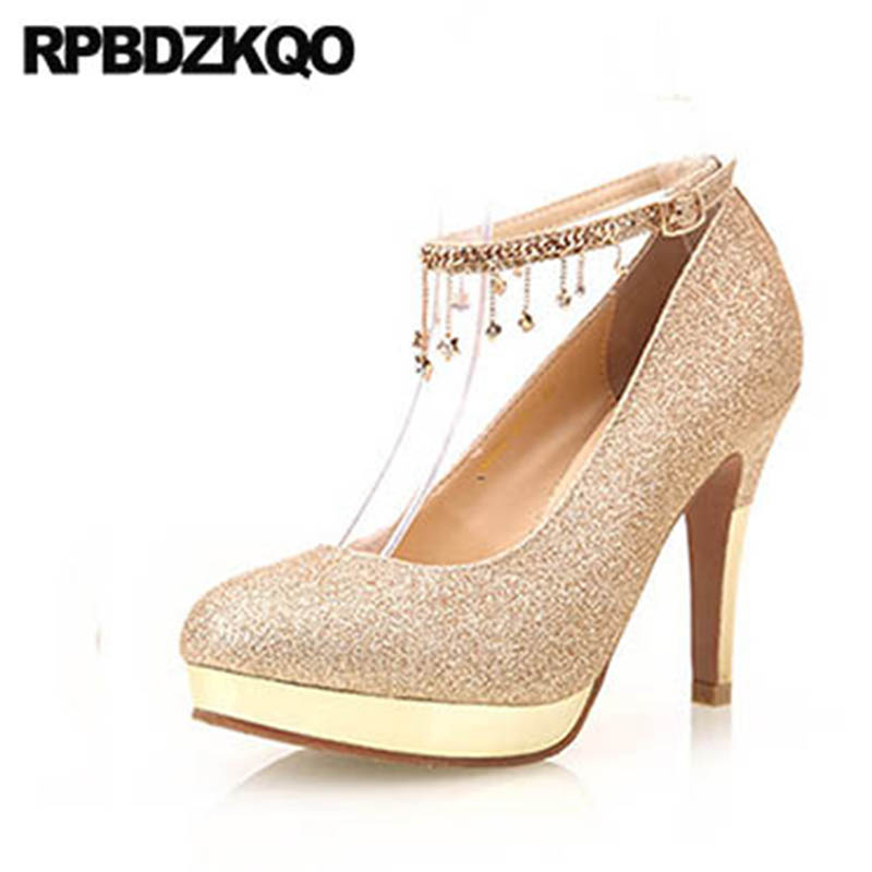 Round Toe Golden Stiletto High Heels Super Ladies Gold Shoes Women With Platform Pumps Crystal Red Ankle Strap Wedding Glitter цена