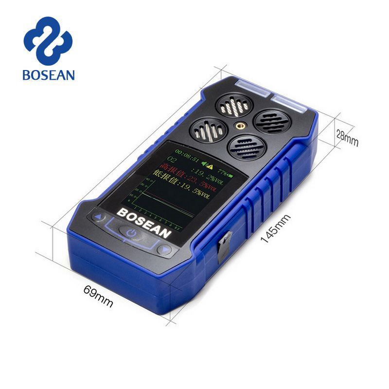 2 in 1 O2 CO Oxygen Carbon Monoxide Gas Leak Detector Temperature Time Display Gas Analyzer with Alarm Air Gas Sensor Monitor