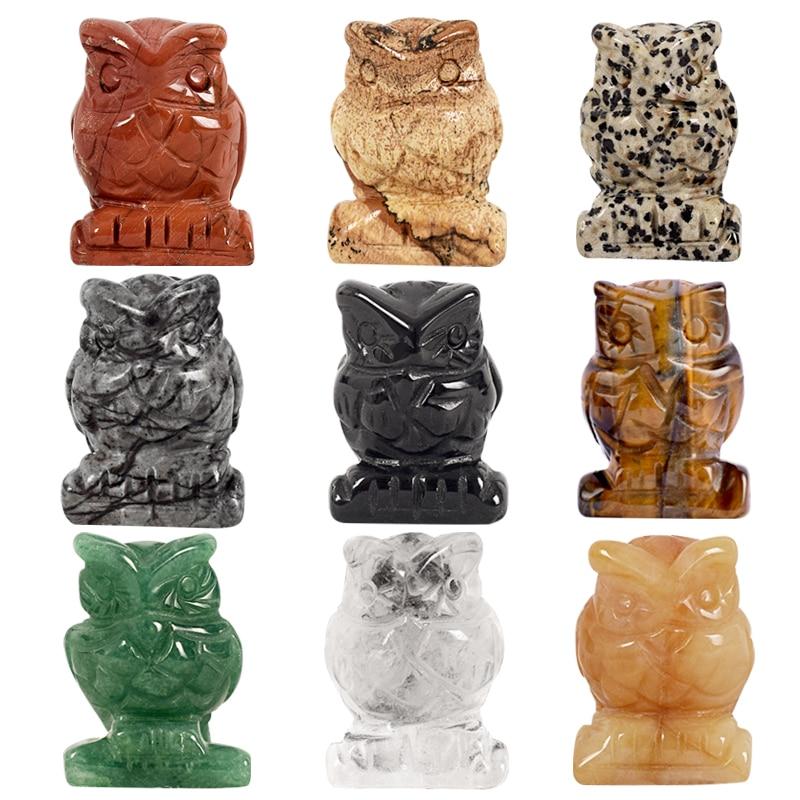 Rental 1.5 Inch Jade Crystal Uil Beeldjes Craft Gesneden Natuursteen - Huisdecoratie