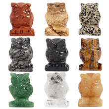 Whosale 1,5 tommers Jade Crystal Owl Figurines Håndverk Utskjæret Natursten Aventurin Mini Animal Statue for Decor Chakra Healing