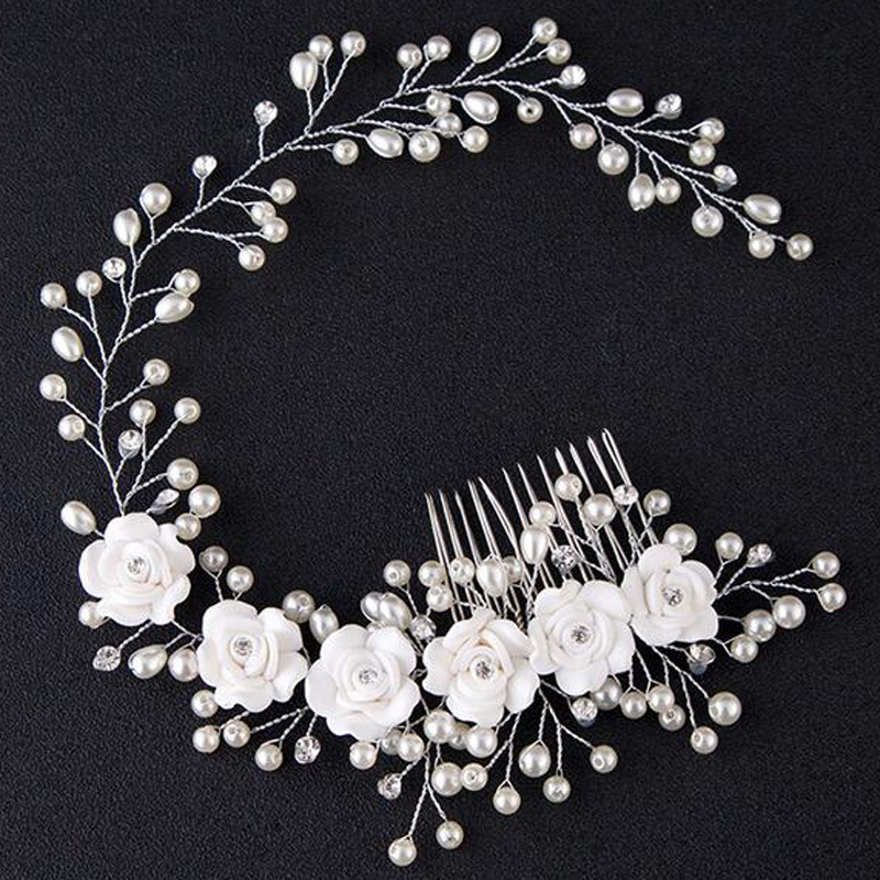 wedding romantic white flower pearl knitted braided handmade hair comb bride high quality   bridal hair accessories 00009 red gold bride wedding hair tiaras ancient chinese empress hair piece