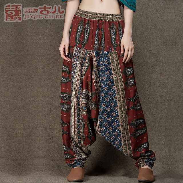 Jiqiuguer Original Design Elastic Waist Harem Pants Women Printing Long Indian Pants Cotton Linen Baggy Bloomers Pants G151K001