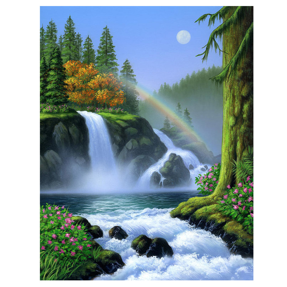 DIY Diamond Painting Valley waterfall Natural scenery Diamond embroidery full round waterfall Diamond Mosaic Corss Stitch decorDIY Diamond Painting Valley waterfall Natural scenery Diamond embroidery full round waterfall Diamond Mosaic Corss Stitch decor
