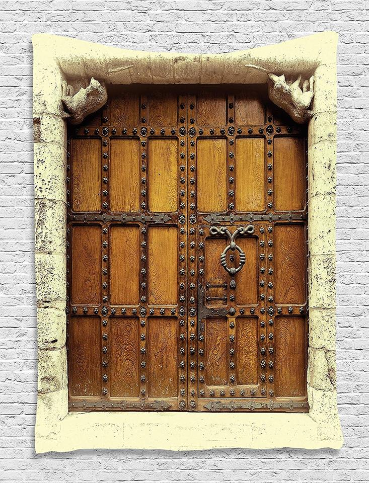 Gothic Decor Old Medieval Wooden Door Gothic Vintage Style Sepia