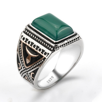 925 Sterling Silver Setting Green Agate Geometric Stone Ring Punk Style for Men Finger Ring Jewelry