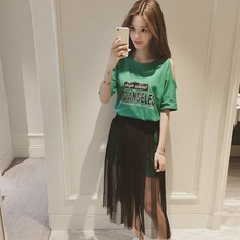 2019 Summer Gauze Skirt Suits Women New Number Printing Round Neck T-shirt Black Mesh Skirts Set Cold Shoulder Two Piece Sets
