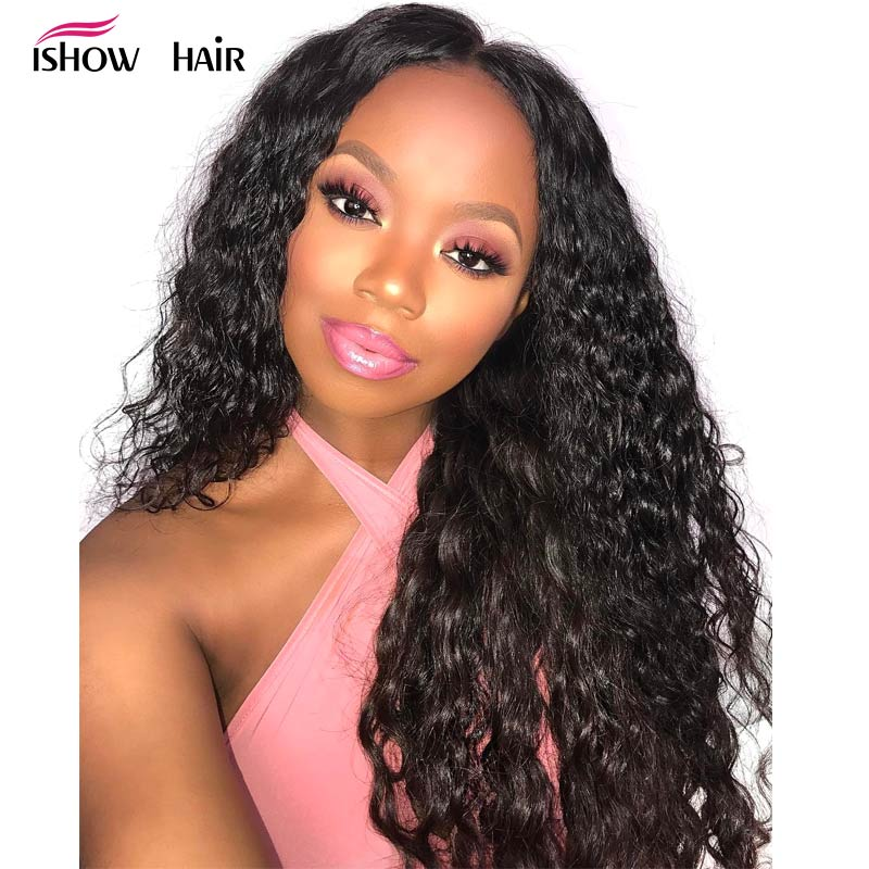 Ishow Deep Wave Lace Front Wig 13x4 Human Hair Wigs For Black Women Brazilian Deep Wave