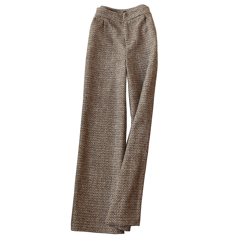 Autumn winter new women fashion office ladies temperament high waist woolen   wide     leg     pants   herringbone trousers