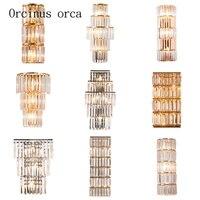 Американский роскошные хрустальные бра гостиная прихожая спальня ночники современный простой светодиодный золото серебро Кристалл Бра