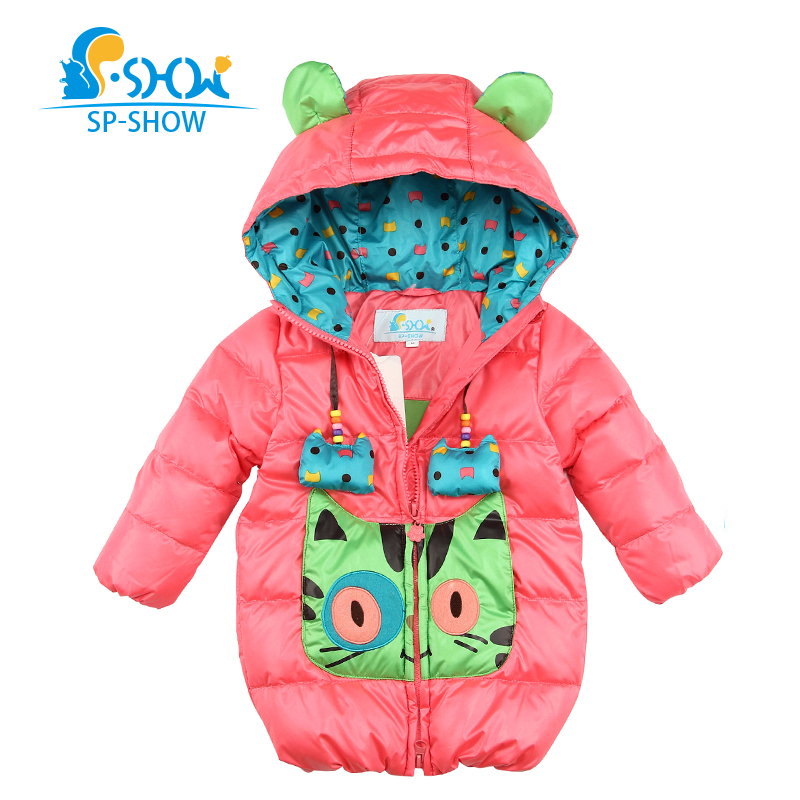 SP-SHOW Winter Children Baby Girl Clothing Set Hooded Jackets For Girls Winter Coat For 1-3 Age Down & Parkas 76022 brand fashion new 2016 winter children down & parkas girl s hooded jackets print character outer wear clothing