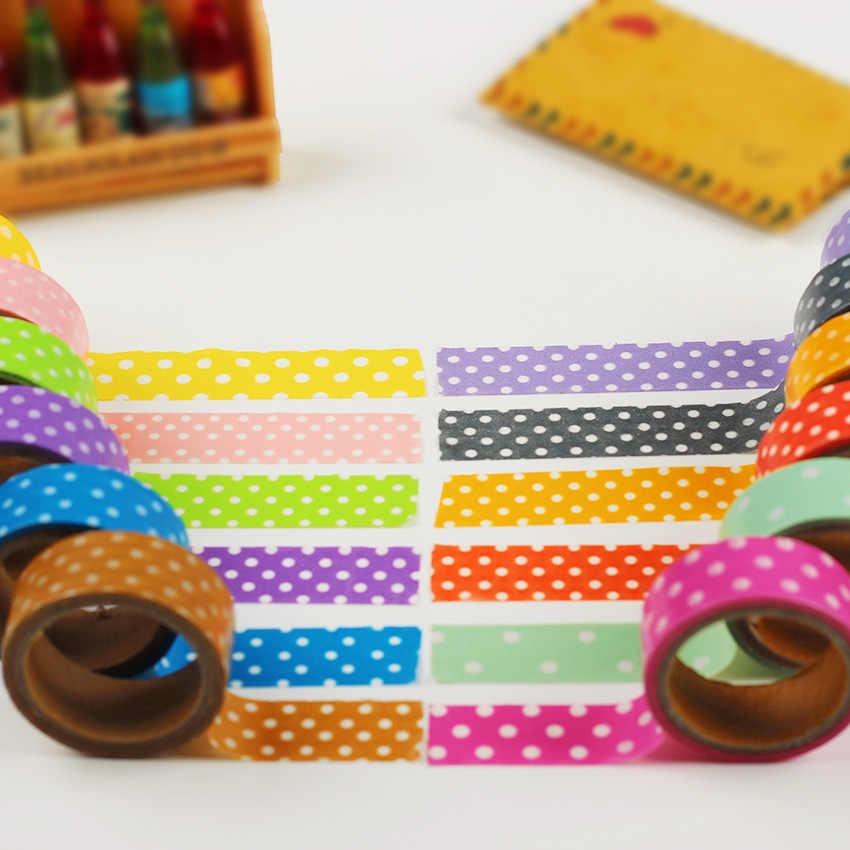 1PC DIY Sveglio Del Fumetto Di Carta del Nastro di Washi Dots Sticky Carta per Scrapbook Decorazione Della Casa di Cancelleria Coreano Casuale Invia Colori