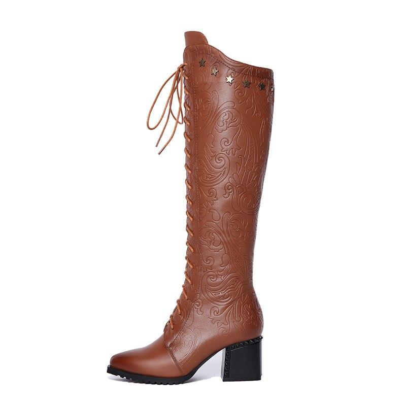 brown Cremallera Calado Encaje Negro Phoentin Estrellas Botas Encaje alta Rodilla Mujeres Decoración Zapatos 2019 Negro Genuino Ft475 Cuero Metal Las De Cinco g1qB8WqF