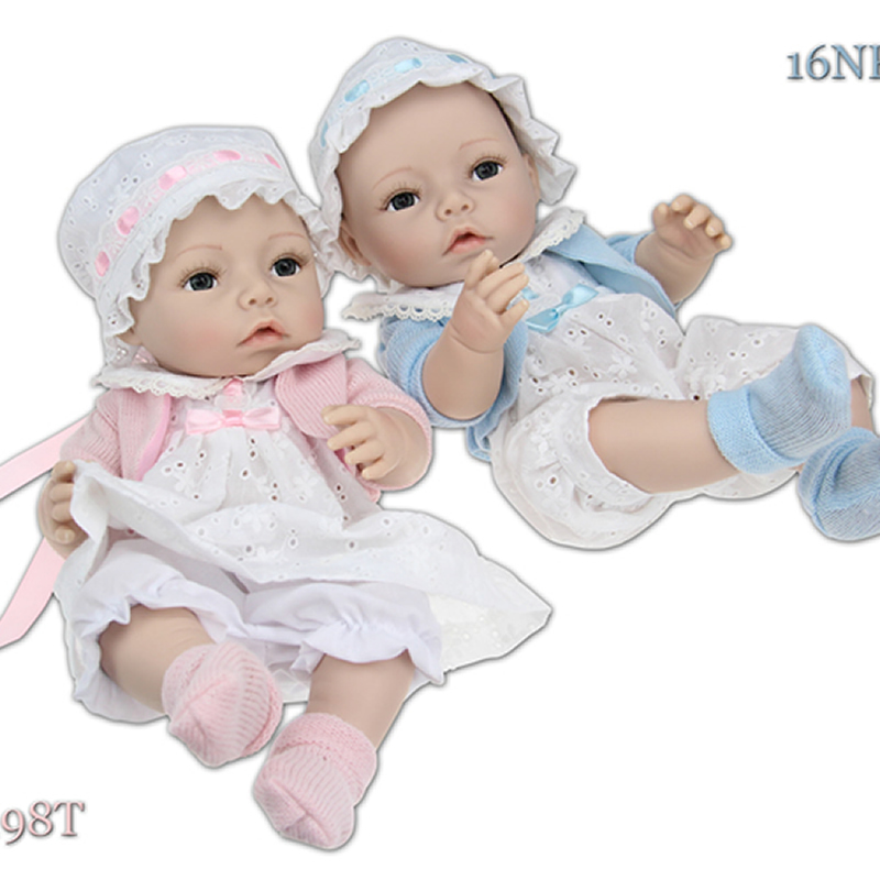 Full Silicone Vinyl 16 Inches Twins Reborn Baby Doll Real Looking Girl And Boy Dolls Newborn Babies Kids Birthday Gift fashion 22 inch silicone reborn baby doll boy newborn babies dolls real looking doll kids birthday xmas gift