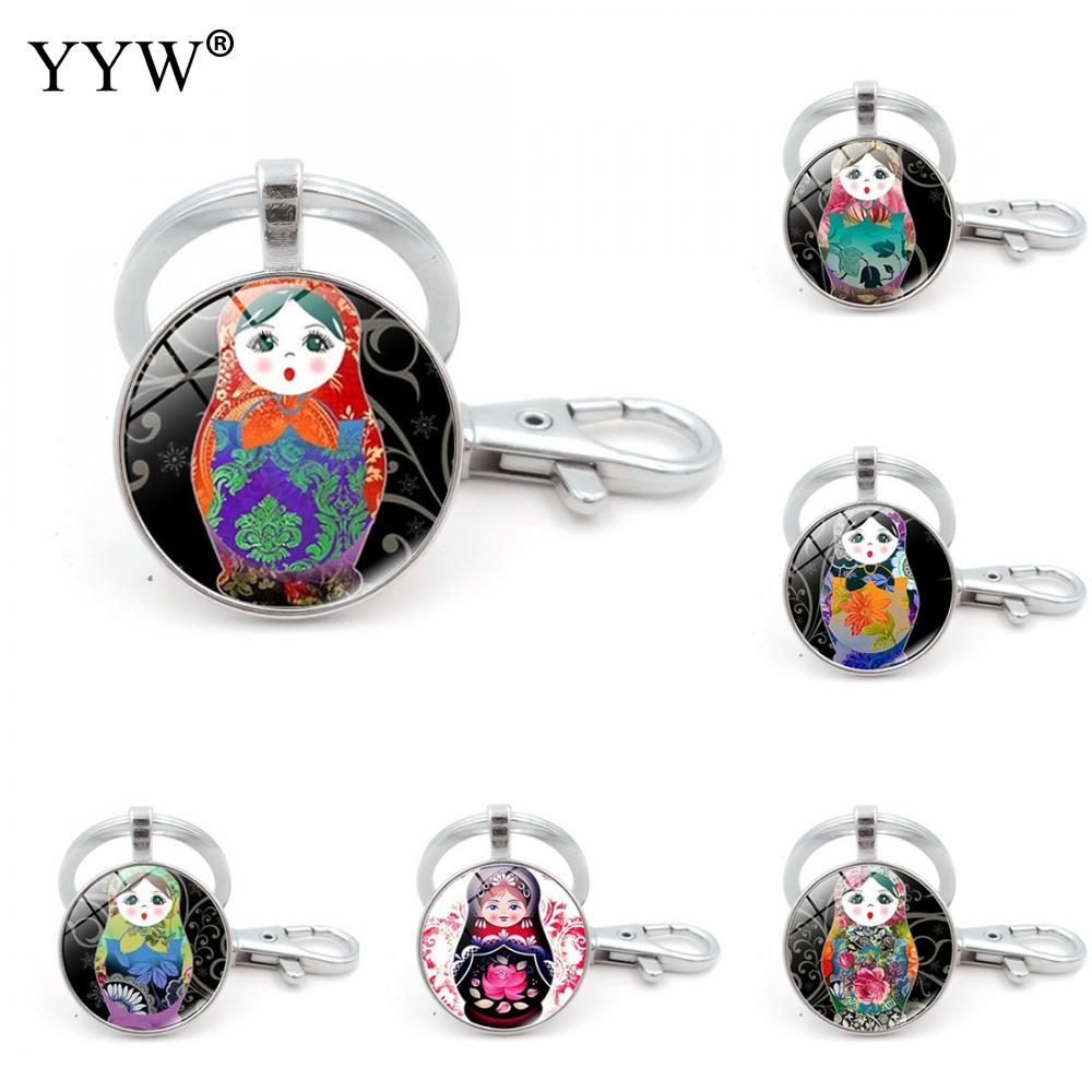 Key Chain Clasp Bag Purse Charms Key Rings Zinc Alloy Round Glass Russian Matryoshka Key Chain Classic Black Jewelry Components