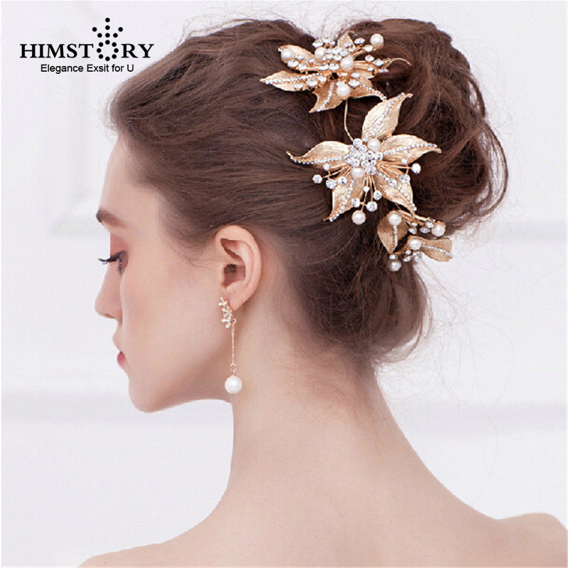 Wedding Hairstyles With Jewels: Himstory Handmade Gold Pearl Hairwear Tiaras Crown Flower