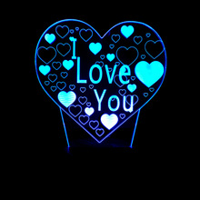 LED Night Light Romantic Atmosphere I Love You 3D Heart Shape Desk Lamp Wedding Decoration Lovers Couple Gifts Baby Sleep Light