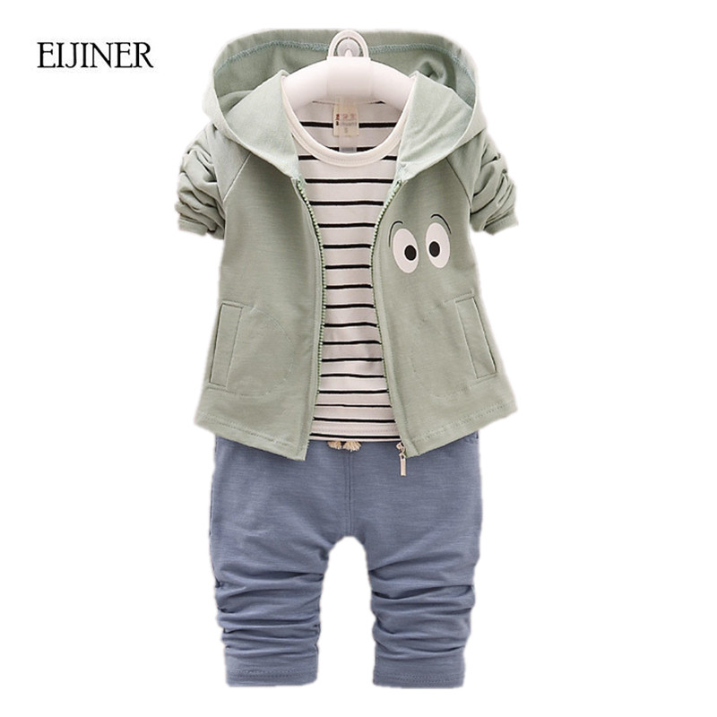 Baby Girl Boy Clothes Spring 2017 New Striped Clothing Set Hooded Kids for GirlsToddler Children